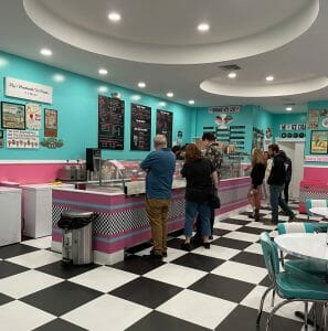 inside of Lily's Ice Cream Shop