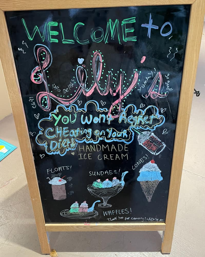 sign outside Lily's Ice Cream in Delray Beach